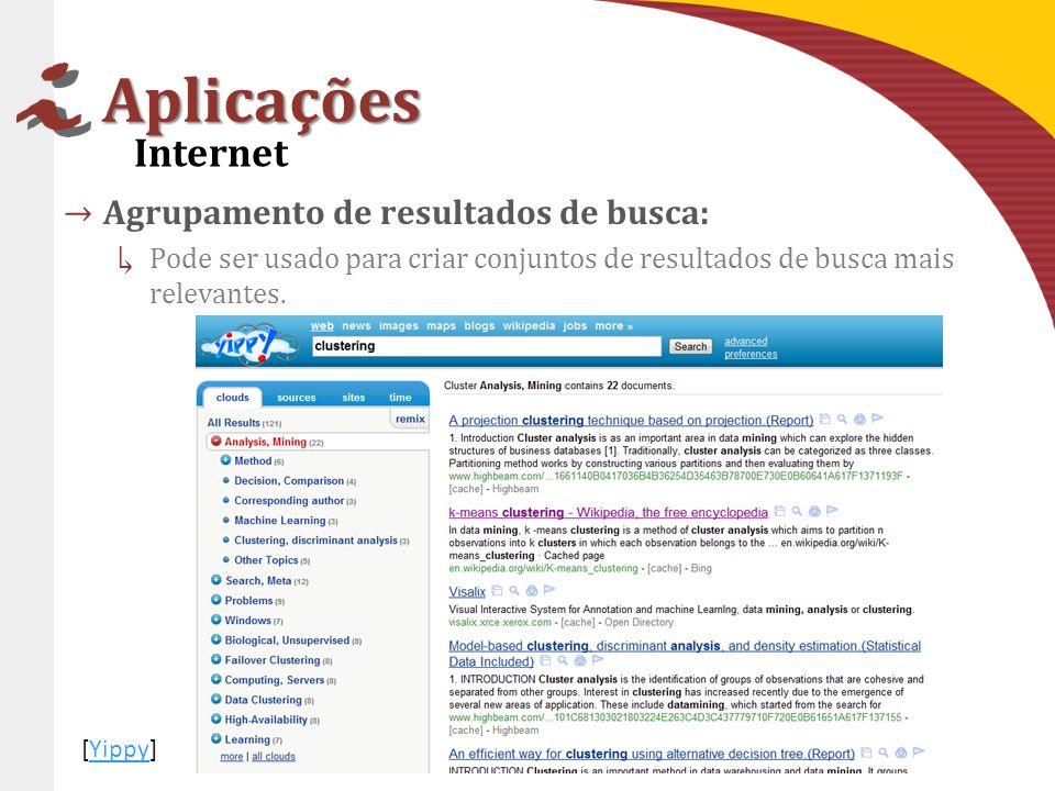 Aplicações Internet Agrupamento de resultados de busca: