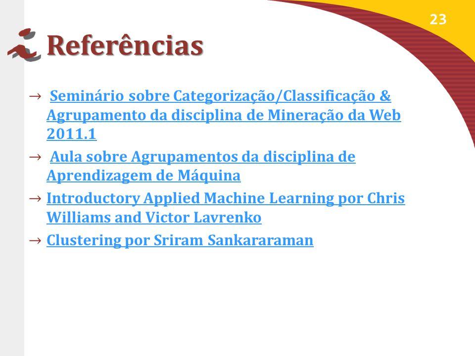 Referências Seminário sobre Categorização/Classificação & Agrupamento da disciplina de Mineração da Web 2011.1.