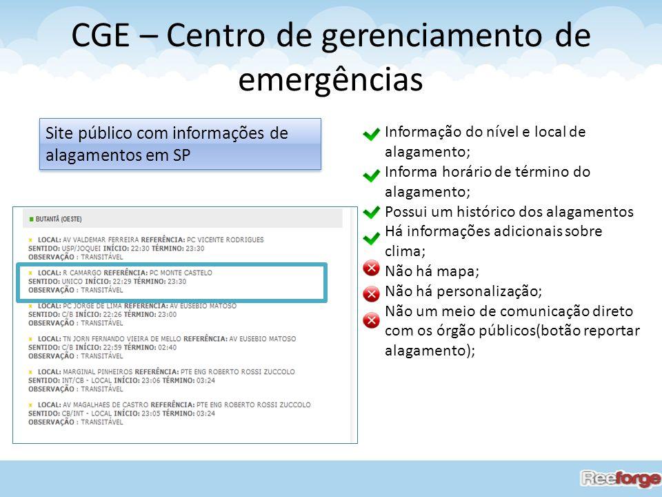 CGE – Centro de gerenciamento de emergências