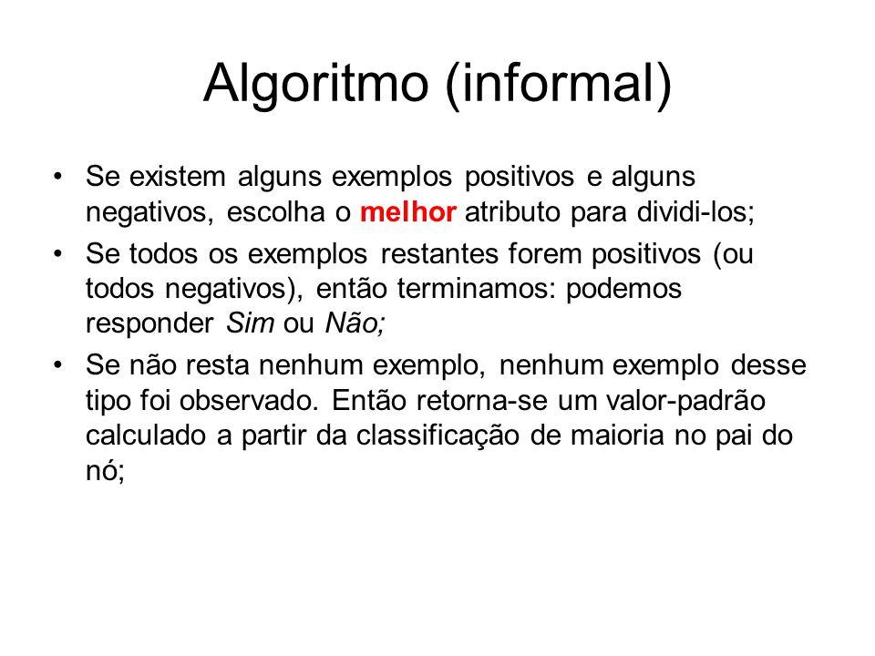 Algoritmo (informal) Se existem alguns exemplos positivos e alguns negativos, escolha o melhor atributo para dividi-los;