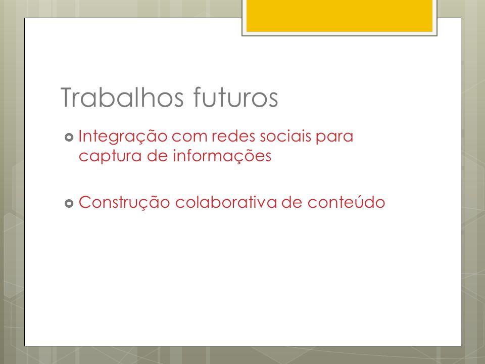 Trabalhos futuros Integração com redes sociais para captura de informações.