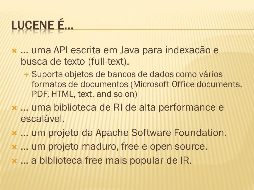 Lucene é… … uma API escrita em Java para indexação e busca de texto (full-text).
