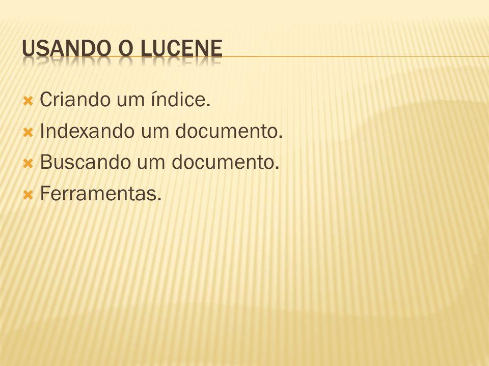 Usando o Lucene Criando um índice. Indexando um documento.