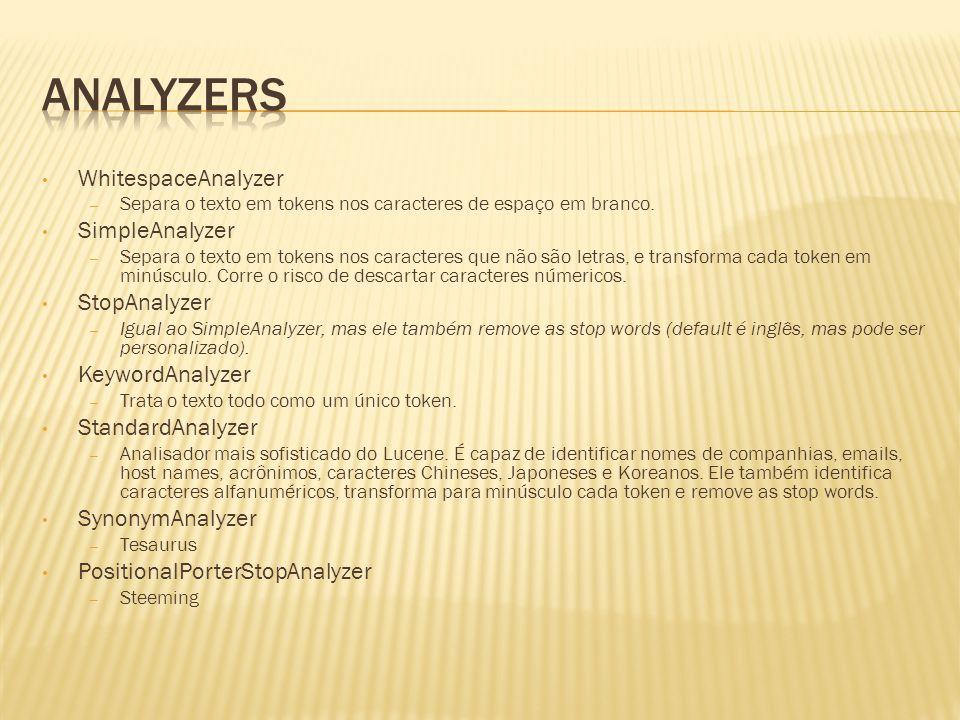 Analyzers WhitespaceAnalyzer SimpleAnalyzer StopAnalyzer