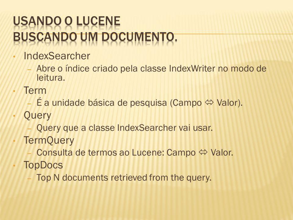 Usando o Lucene Buscando um documento.