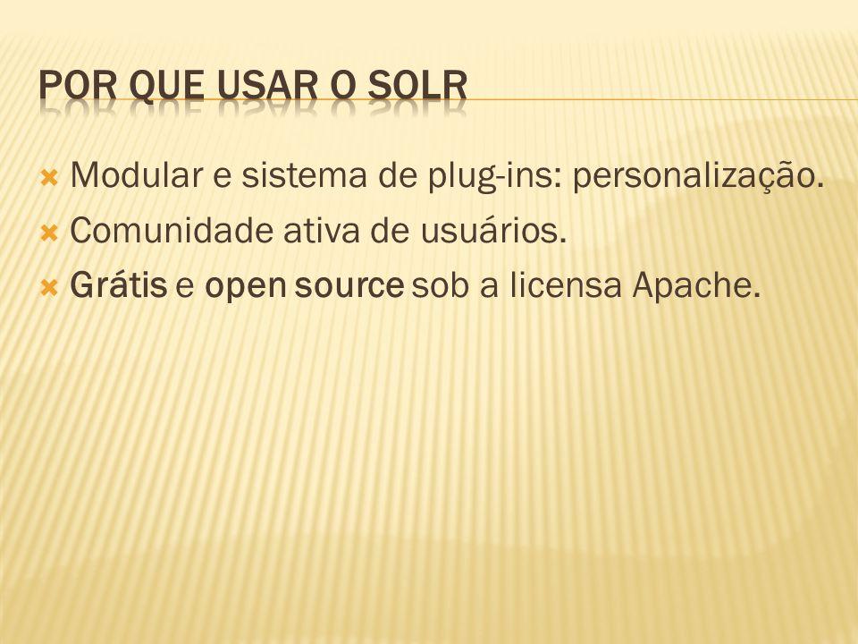 Por que usar o Solr Modular e sistema de plug-ins: personalização.