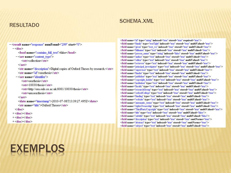 Resultado Schema.xml Exemplos