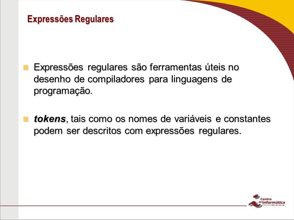 Expressões Regulares Expressões regulares são ferramentas úteis no desenho de compiladores para linguagens de programação.