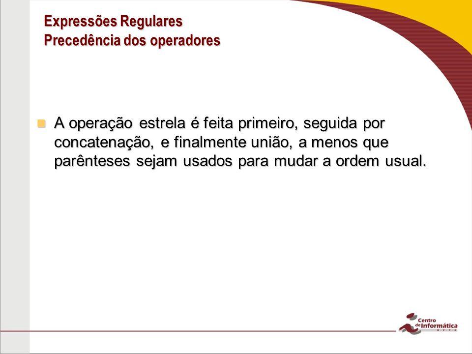 Expressões Regulares Precedência dos operadores