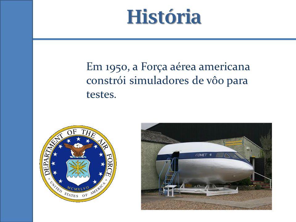 História Em 1950, a Força aérea americana constrói simuladores de vôo para testes.