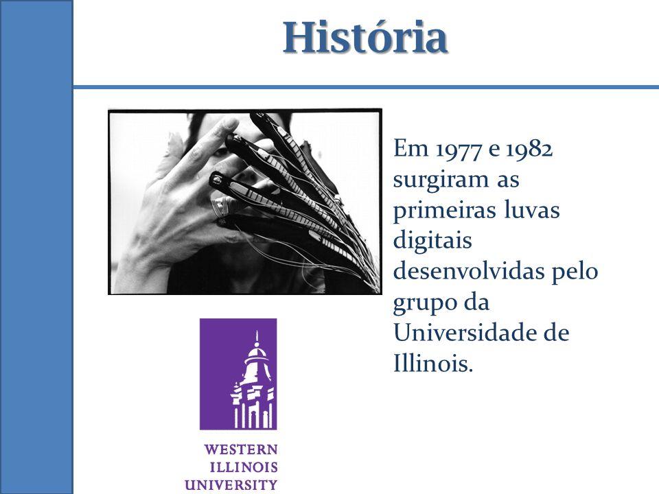 História Em 1977 e 1982 surgiram as primeiras luvas digitais desenvolvidas pelo grupo da Universidade de Illinois.