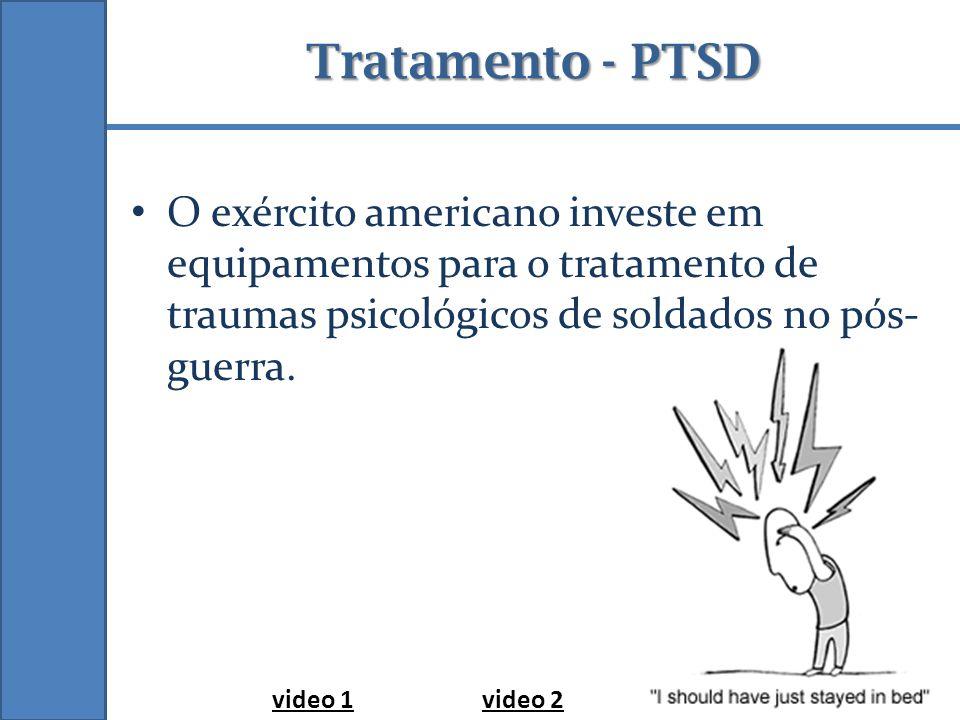 Tratamento - PTSD O exército americano investe em equipamentos para o tratamento de traumas psicológicos de soldados no pós- guerra.