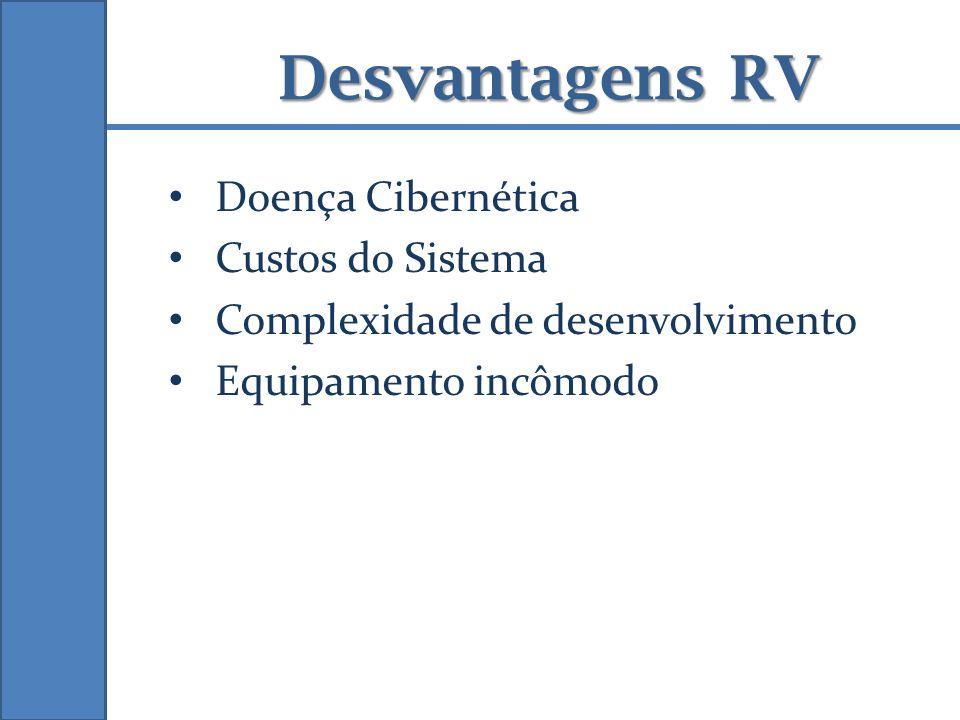 Desvantagens RV Doença Cibernética Custos do Sistema