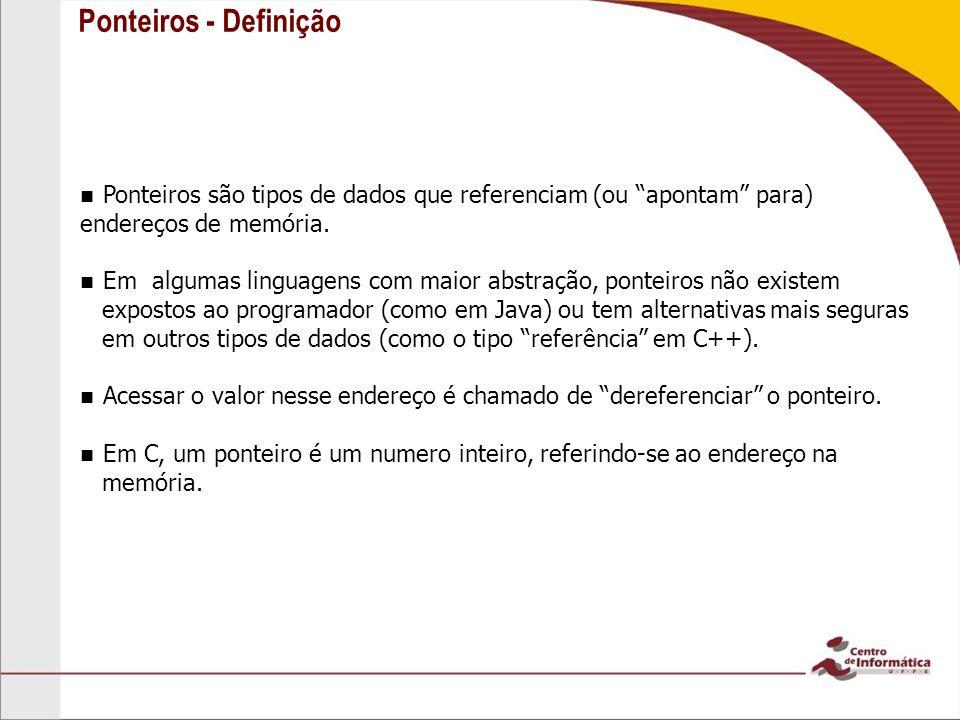 3 Ponteiros - Definição. Ponteiros são tipos de dados que referenciam (ou apontam para) endereços de memória.