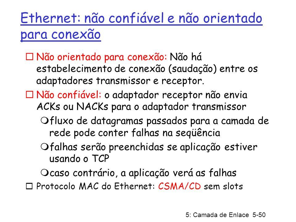 Ethernet: não confiável e não orientado para conexão