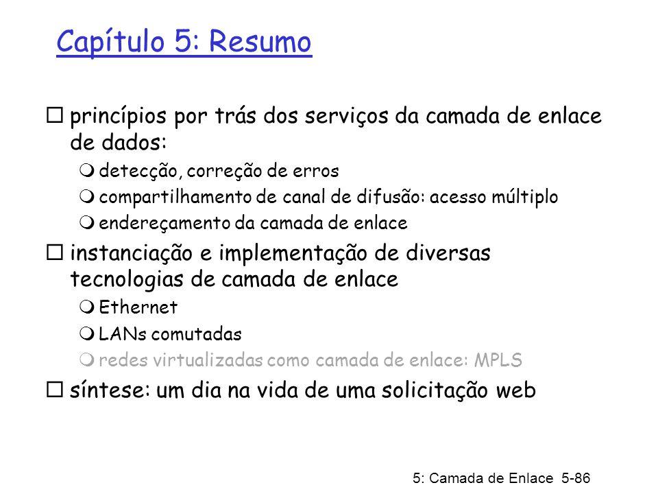 Capítulo 5: Resumo princípios por trás dos serviços da camada de enlace de dados: detecção, correção de erros.