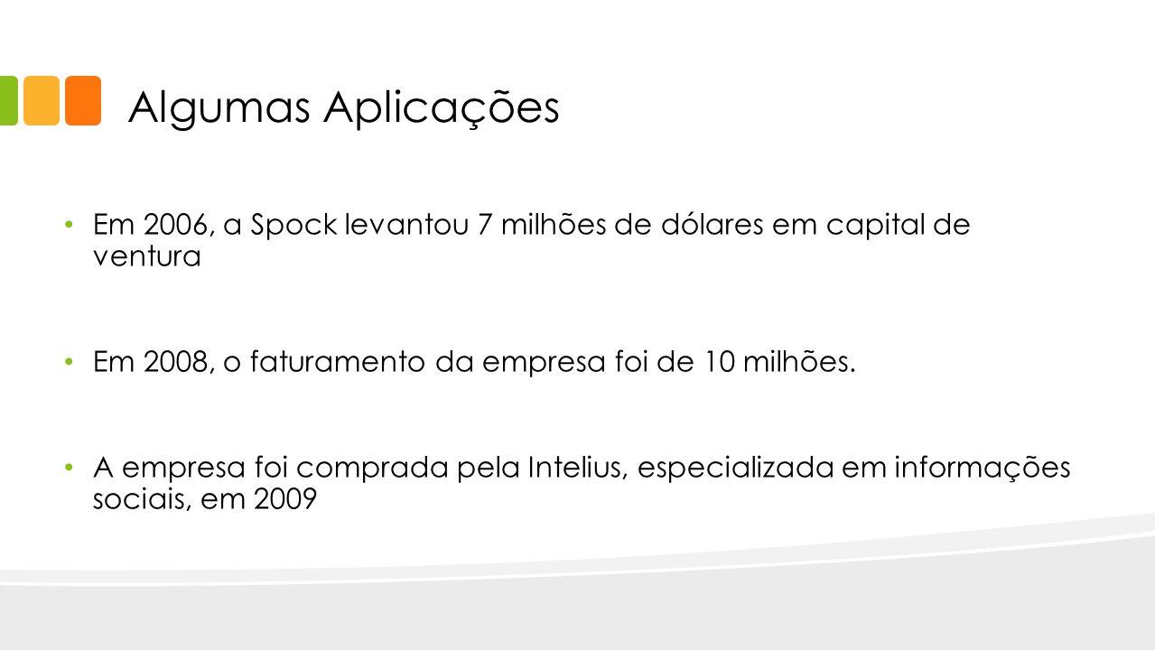 Algumas Aplicações Em 2006, a Spock levantou 7 milhões de dólares em capital de ventura. Em 2008, o faturamento da empresa foi de 10 milhões.