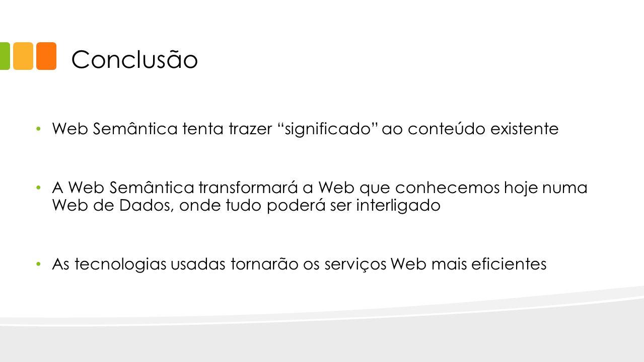 Conclusão Web Semântica tenta trazer significado ao conteúdo existente.