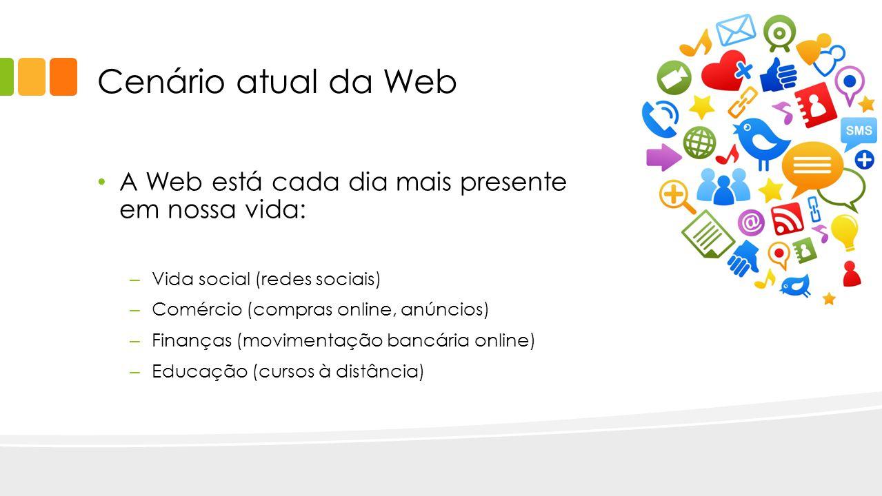 Cenário atual da Web A Web está cada dia mais presente em nossa vida: