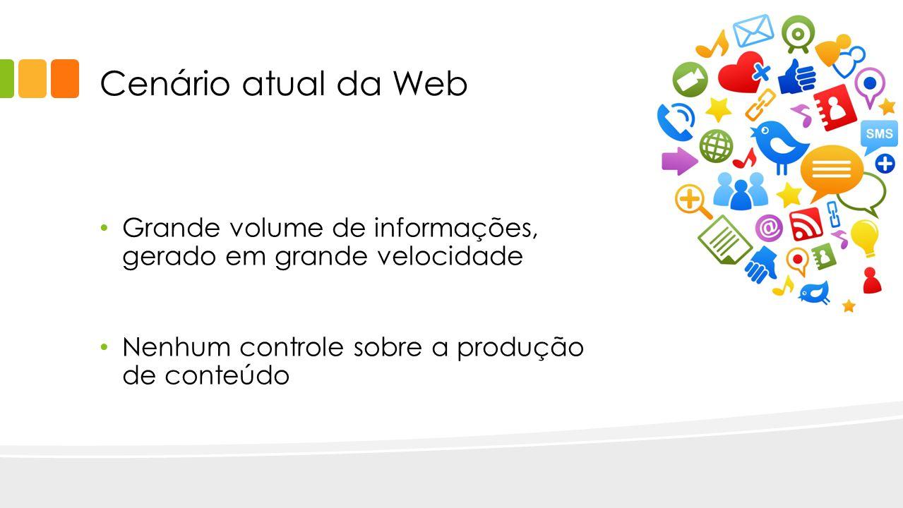 Cenário atual da Web Grande volume de informações, gerado em grande velocidade.