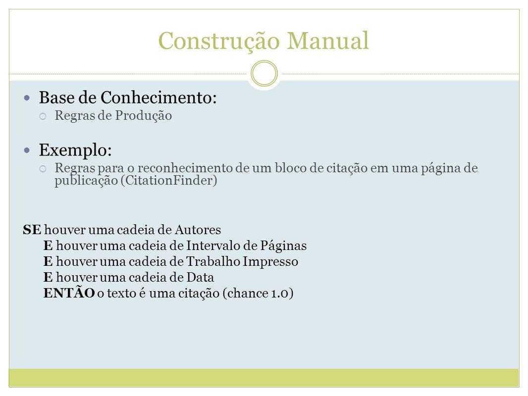 Construção Manual Base de Conhecimento: Exemplo: Regras de Produção