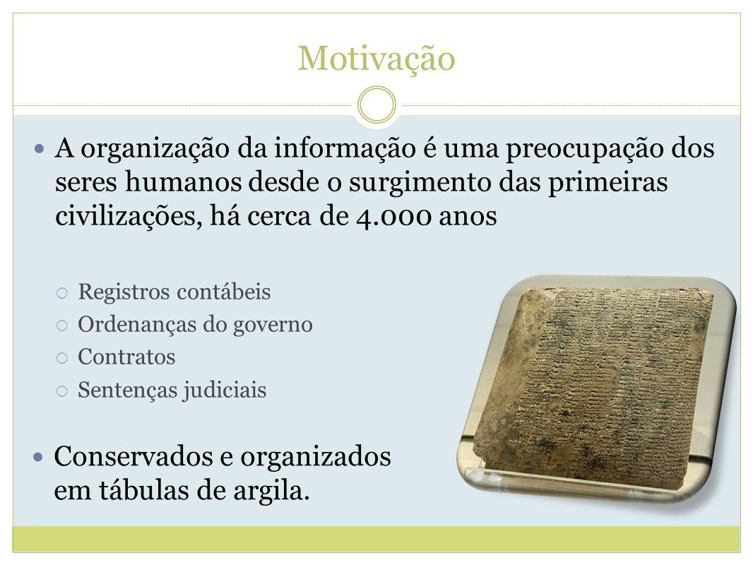 Motivação A organização da informação é uma preocupação dos seres humanos desde o surgimento das primeiras civilizações, há cerca de 4.000 anos.
