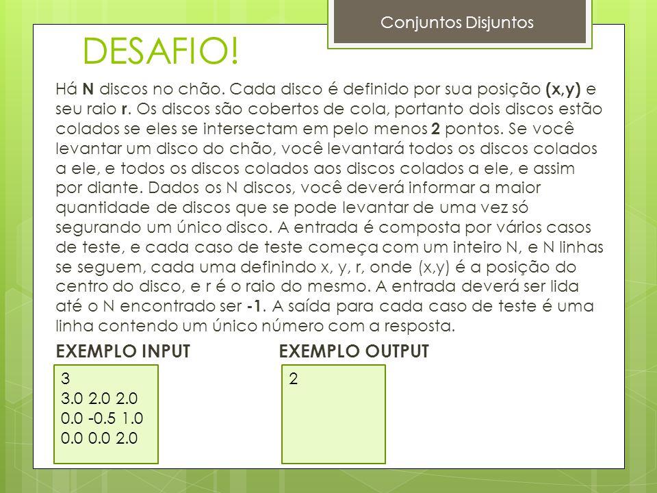 DESAFIO! EXEMPLO INPUT EXEMPLO OUTPUT Conjuntos Disjuntos