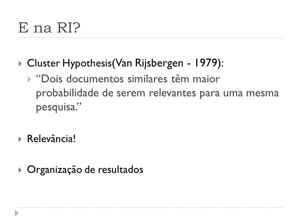 E na RI Cluster Hypothesis(Van Rijsbergen - 1979):