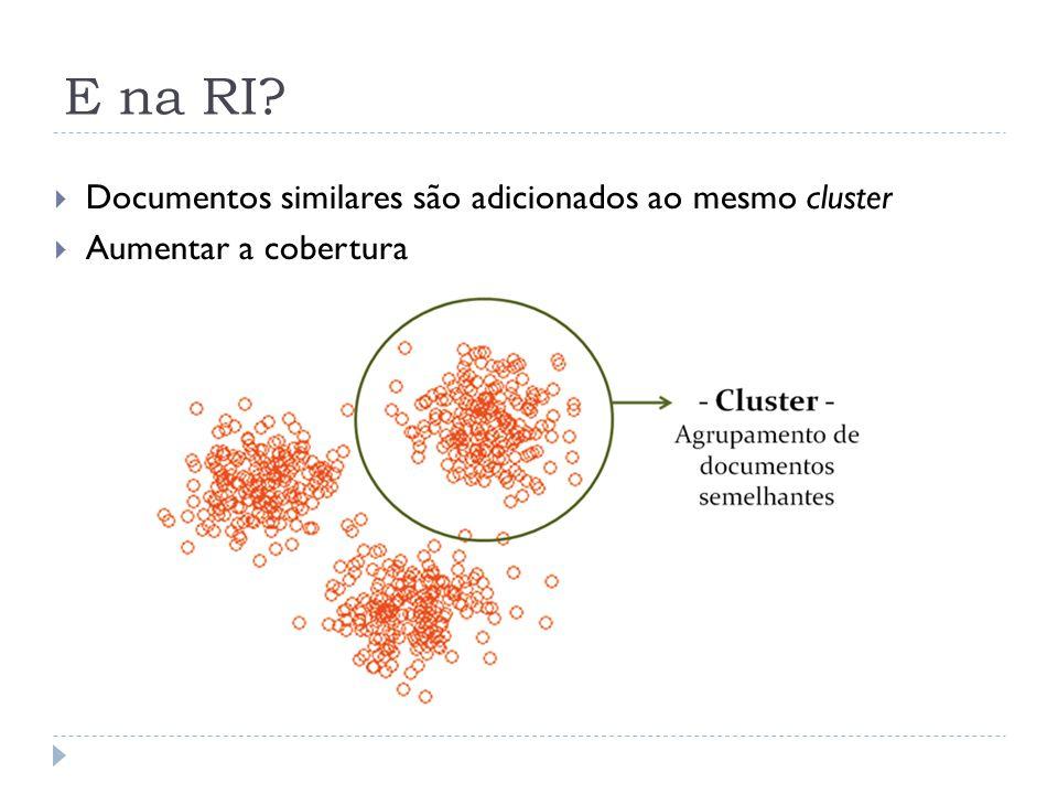 E na RI Documentos similares são adicionados ao mesmo cluster
