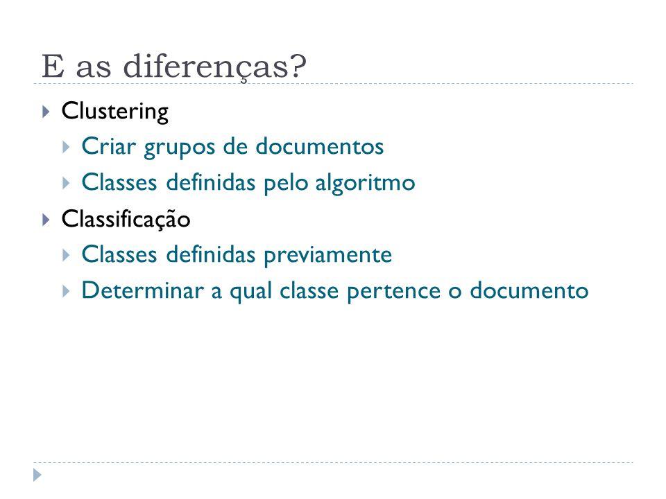 E as diferenças Clustering Criar grupos de documentos