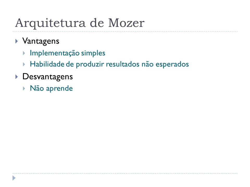 Arquitetura de Mozer Vantagens Desvantagens Implementação simples