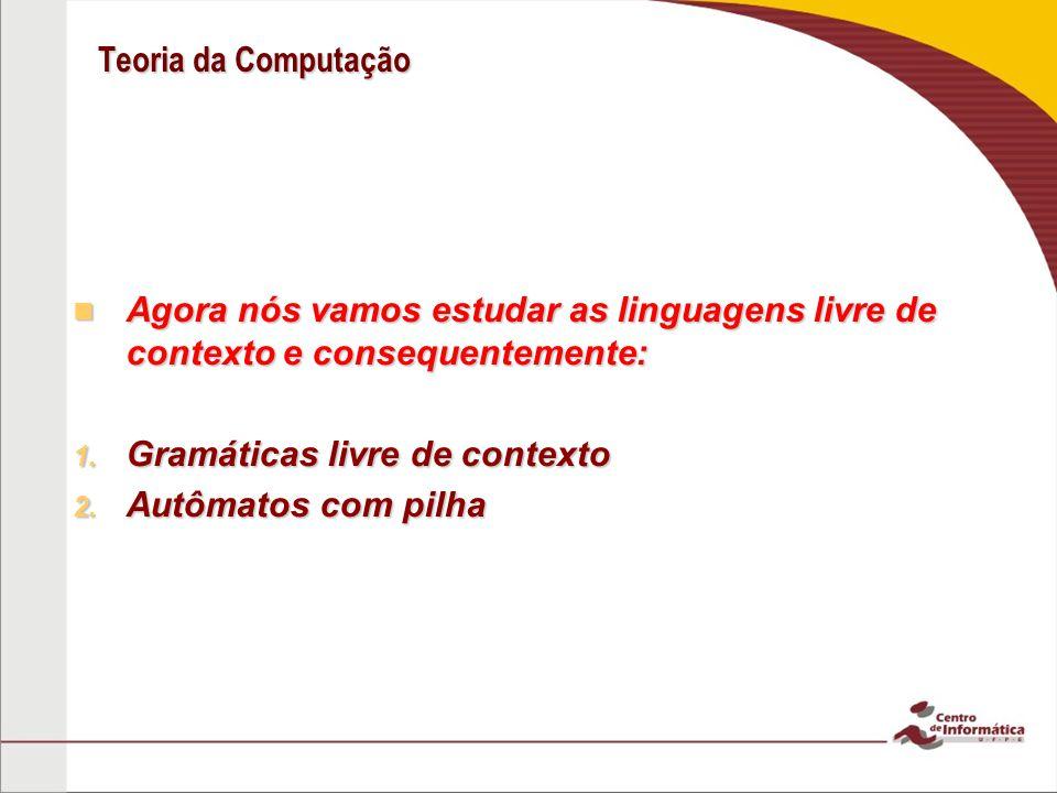 Teoria da Computação Agora nós vamos estudar as linguagens livre de contexto e consequentemente: Gramáticas livre de contexto.