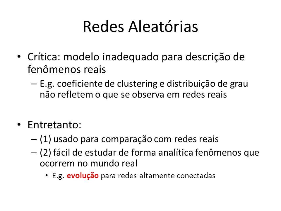 Redes Aleatórias Crítica: modelo inadequado para descrição de fenômenos reais.