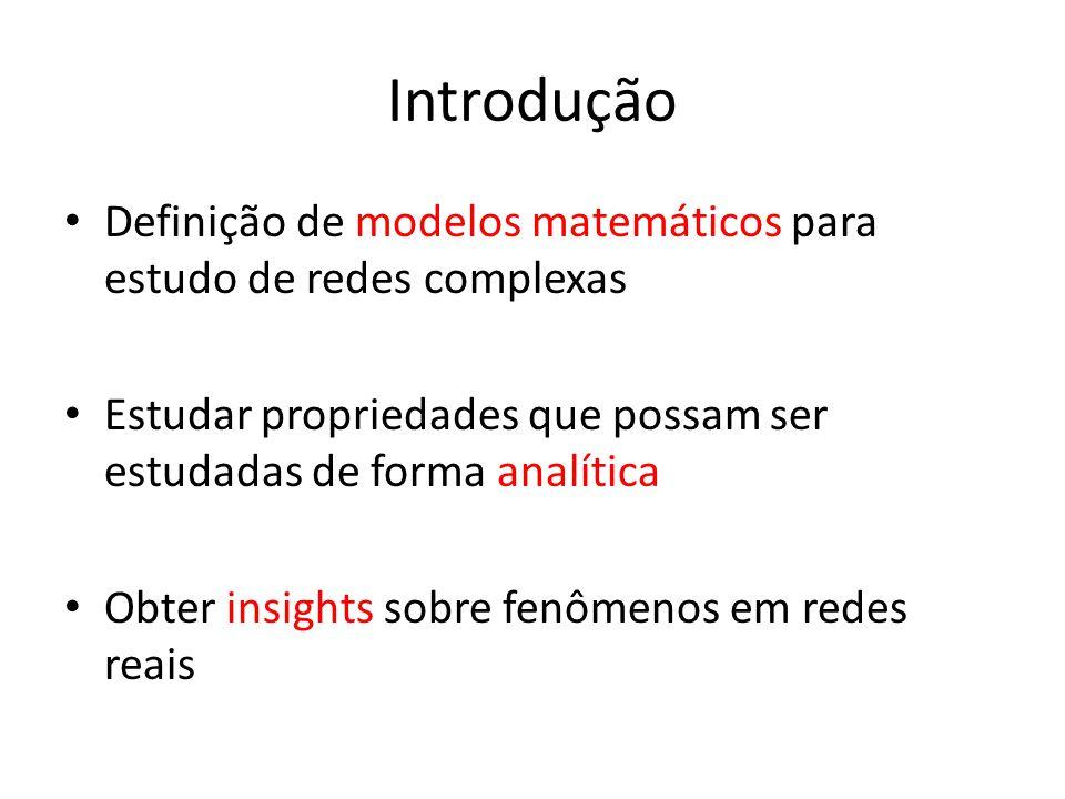 Introdução Definição de modelos matemáticos para estudo de redes complexas. Estudar propriedades que possam ser estudadas de forma analítica.