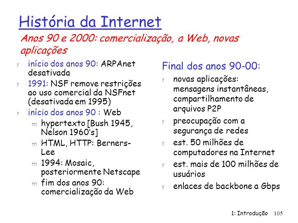 História da Internet Anos 90 e 2000: comercialização, a Web, novas aplicações. início dos anos 90: ARPAnet desativada.
