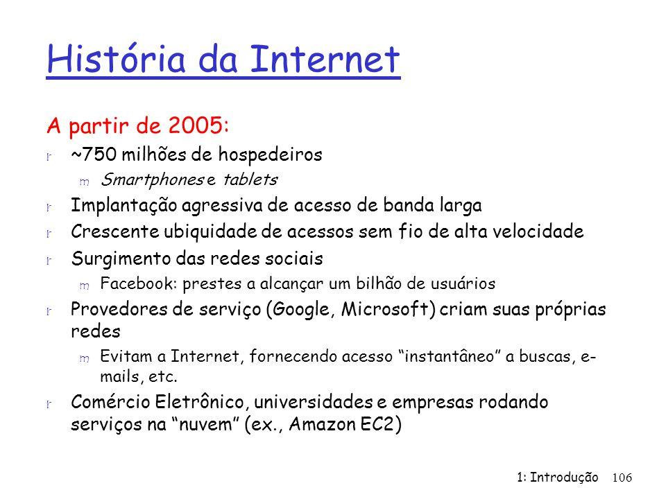 História da Internet A partir de 2005: ~750 milhões de hospedeiros