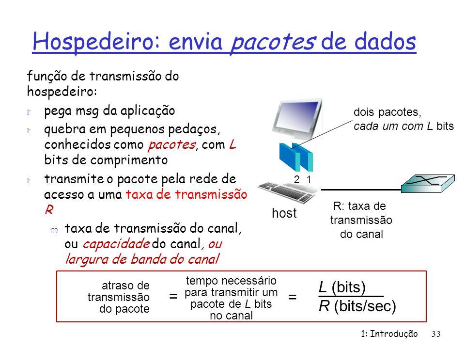 Hospedeiro: envia pacotes de dados
