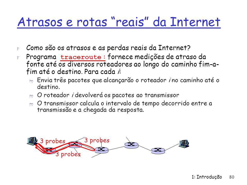 Atrasos e rotas reais da Internet