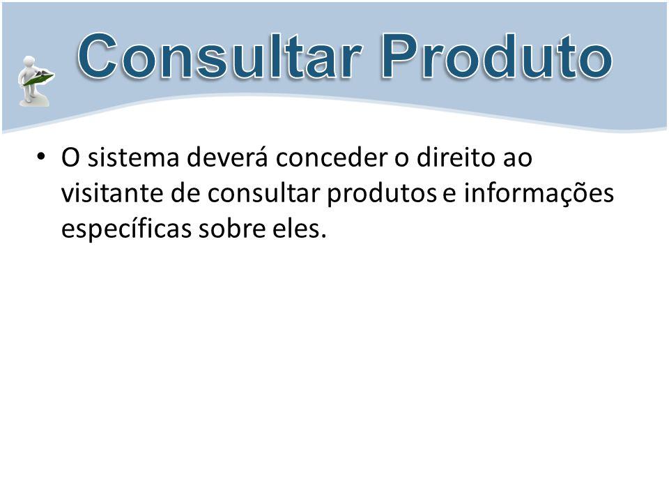 Consultar Produto O sistema deverá conceder o direito ao visitante de consultar produtos e informações específicas sobre eles.