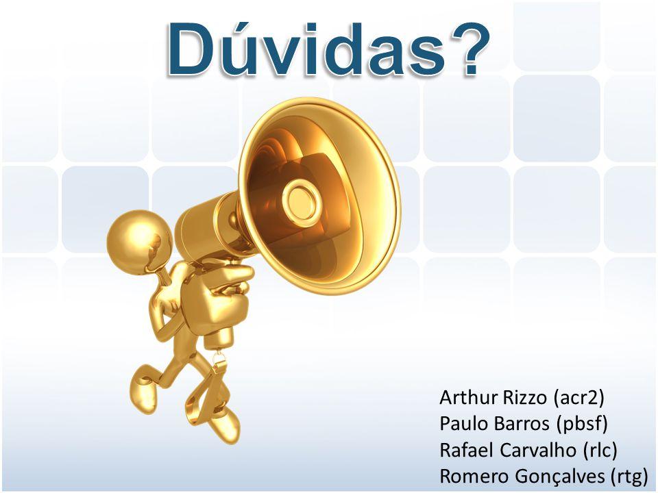 Dúvidas Arthur Rizzo (acr2) Paulo Barros (pbsf) Rafael Carvalho (rlc)