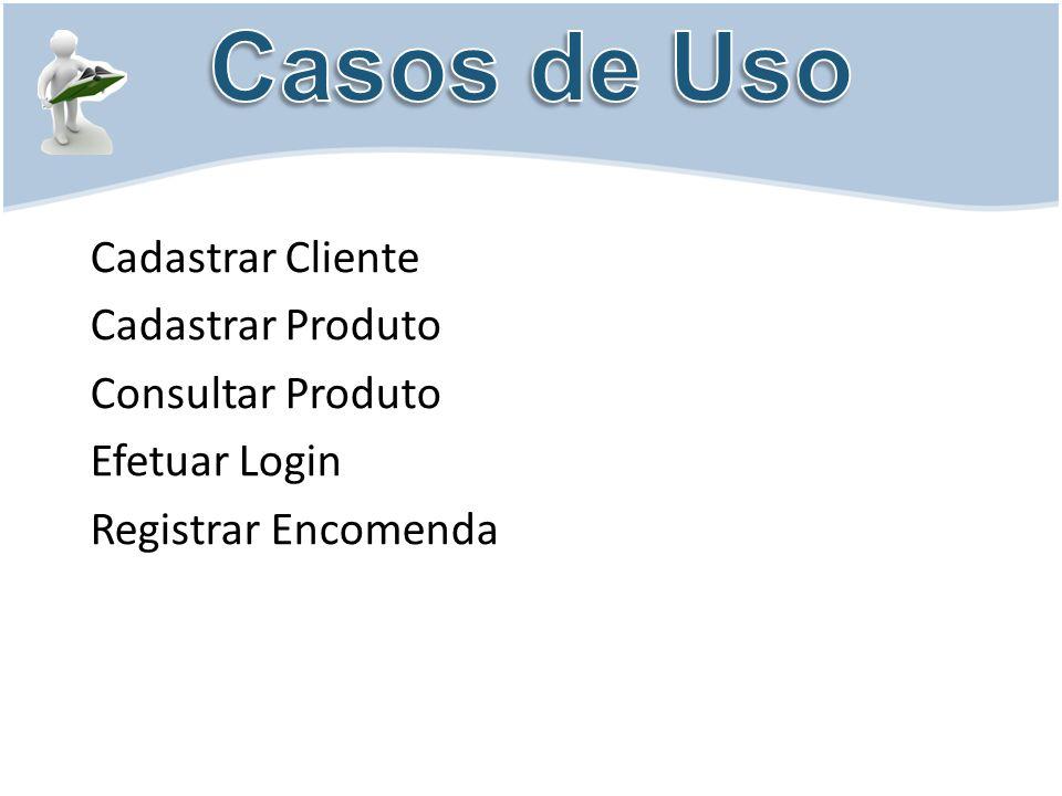 Casos de Uso Cadastrar Cliente Cadastrar Produto Consultar Produto Efetuar Login Registrar Encomenda