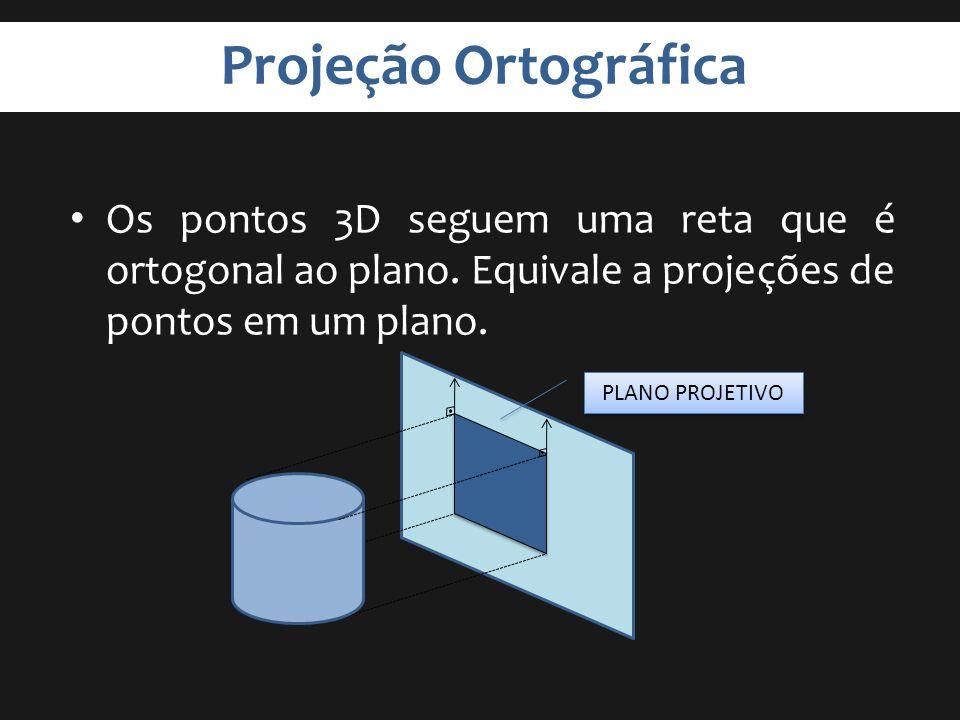 Projeção Ortográfica Os pontos 3D seguem uma reta que é ortogonal ao plano. Equivale a projeções de pontos em um plano.