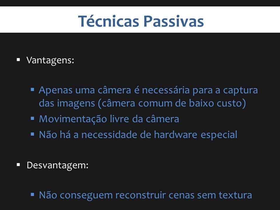 Técnicas Passivas Vantagens: Apenas uma câmera é necessária para a captura das imagens (câmera comum de baixo custo)