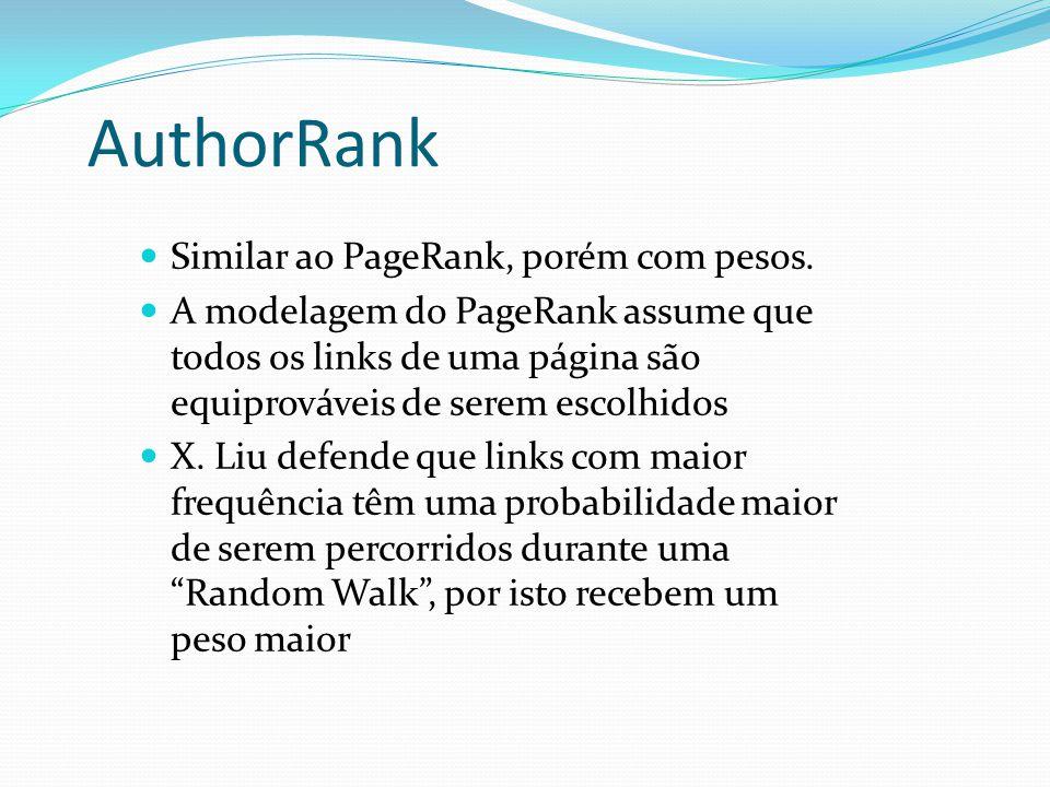 AuthorRank Similar ao PageRank, porém com pesos.