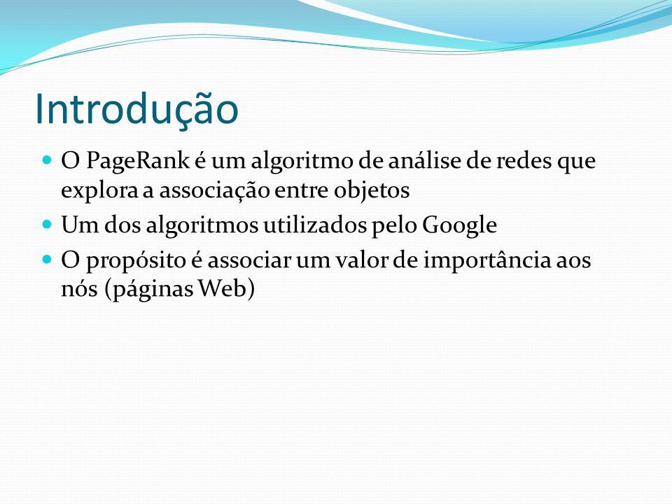 Introdução O PageRank é um algoritmo de análise de redes que explora a associação entre objetos. Um dos algoritmos utilizados pelo Google.
