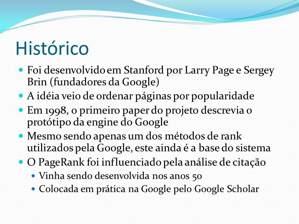 Histórico Foi desenvolvido em Stanford por Larry Page e Sergey Brin (fundadores da Google) A idéia veio de ordenar páginas por popularidade.