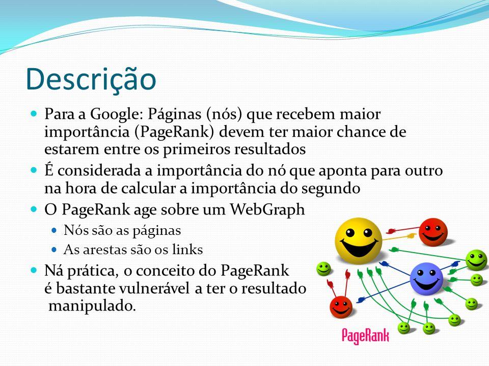 Descrição Para a Google: Páginas (nós) que recebem maior importância (PageRank) devem ter maior chance de estarem entre os primeiros resultados.
