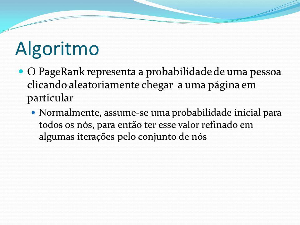 Algoritmo O PageRank representa a probabilidade de uma pessoa clicando aleatoriamente chegar a uma página em particular.