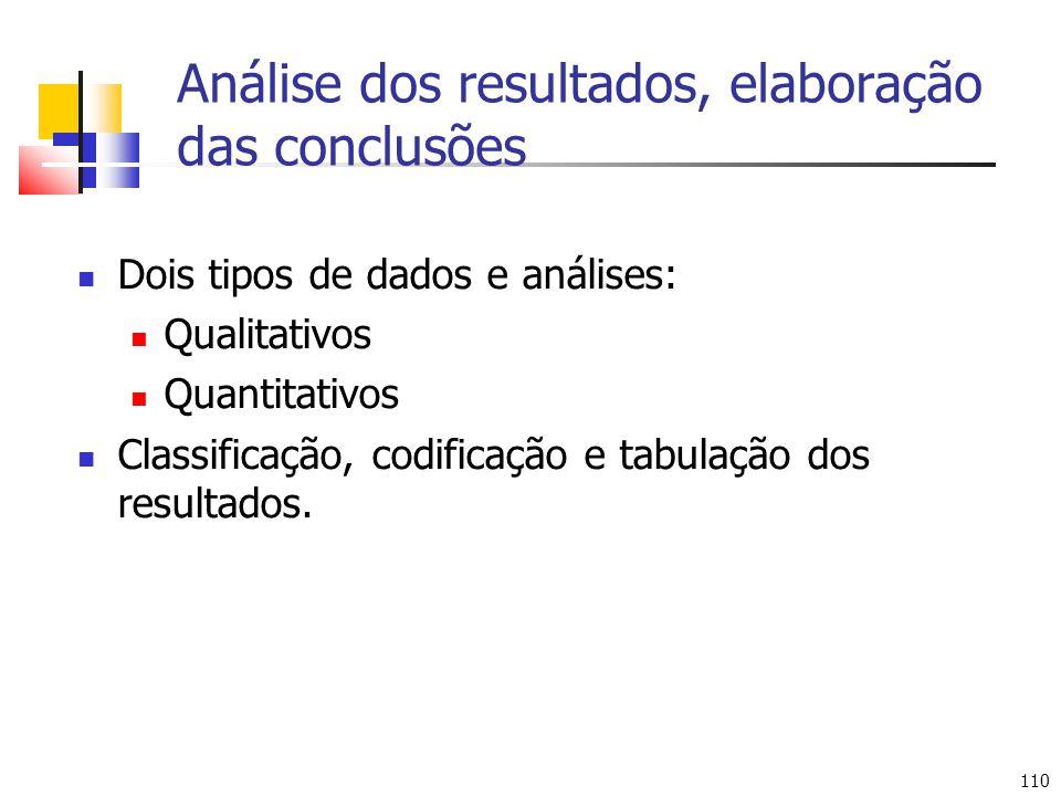 Análise dos resultados, elaboração das conclusões