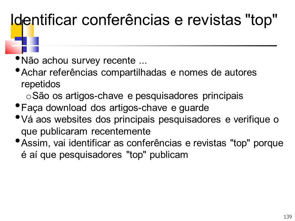 Identificar conferências e revistas top
